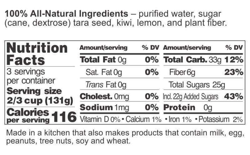 Kiwi Sorbet FDA label