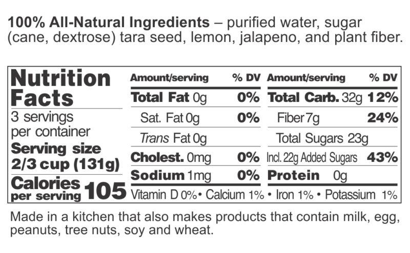Lemon Jalapeno Sorbet FDA label