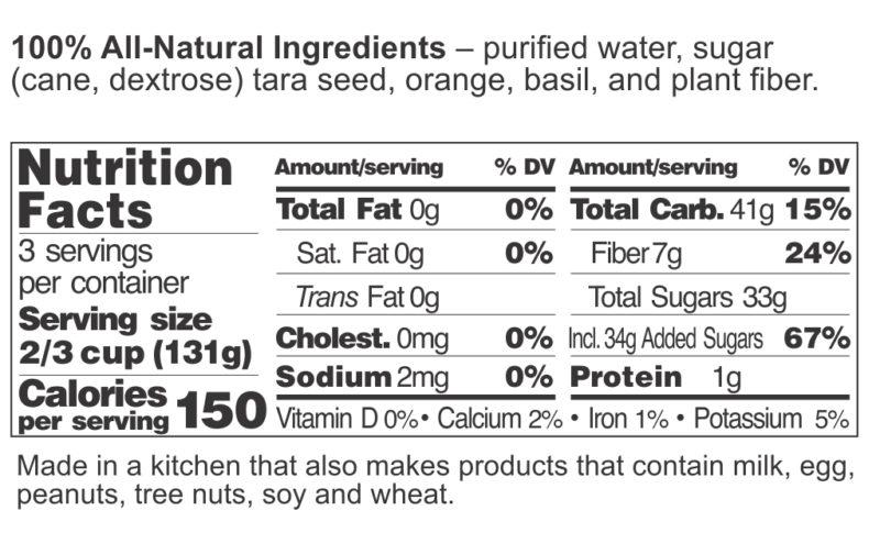 Orange Basil Sorbet FDA Label
